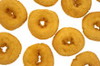 Small doughnuts on white background