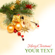 Christmas background - Xmas gift, gold decoration, red berry