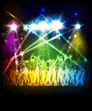 Fototapety Abstract party sound background with dancing people