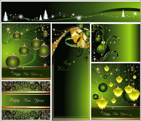 Merry Christmas and Happy New Year collection gold and green