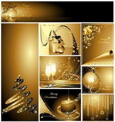Gold Merry Christmas and Happy New Year collection