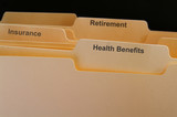Employee benefits folders, health insurance etc poster