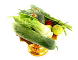Vegetables mix on golden tray on white background poster