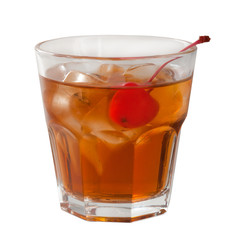 cocktail  with cherry closeup isolated on white background.