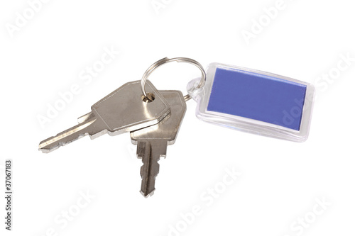 Key ring with two keys isolated over white background