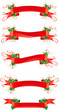 Vector set of banners with holly