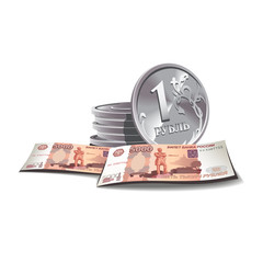 ruble banknotes and coins vector illustration, financial theme