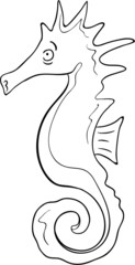 Black and white cartoon character of seahorse.
