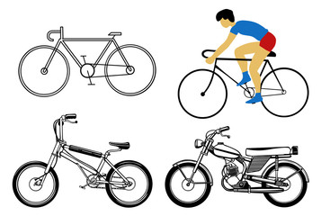 set bicycle on white background