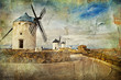 windmills of Spain - picture in painting style