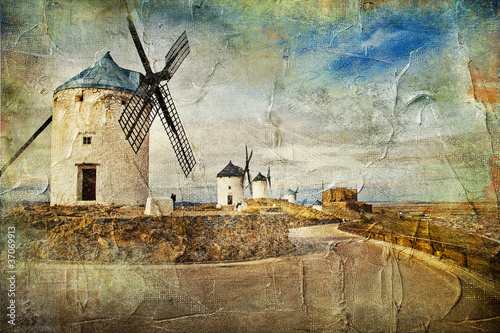 windmills of Spain - picture in painting style - 37069913