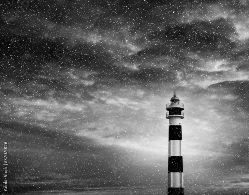 snowing lighthouse