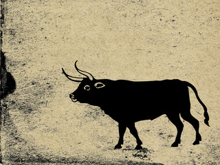 oxen on grunge background