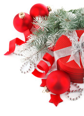 christmas red gift with branch firtree