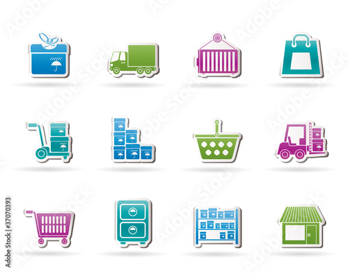Storage, transportation, cargo and shipping icons