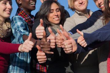 Multiracial Thumbs Up