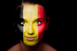Portrait of a woman with the flag of the Belgium
