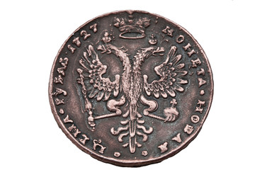 One rouble coin of 1727 years.