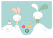 Cartoon  background with rabbit