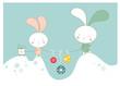 Cartoon  background with rabbit