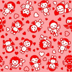 Cupids set, red icons, wrapping paper