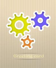 Gears postcard vector illustration