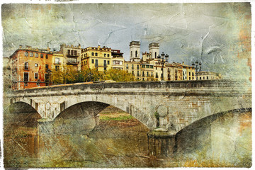 Girona, Spain,artistic retro picture