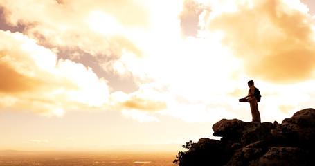 sunset hiker mountain