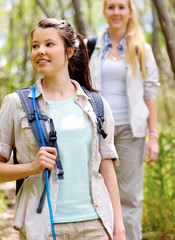 walking outdoors with backpacks