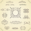 Set of calligraphic design elements, vector