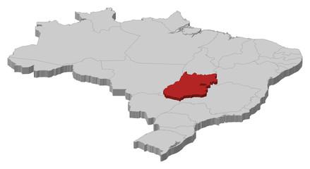 Map of Brazil, Goiás highlighted