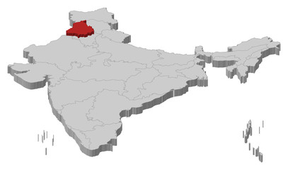 Map of India, Punjab highlighted