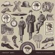 vector set: Gentlemen's fashion & accessories of the 20s