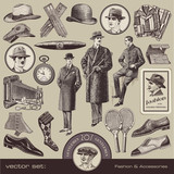 vector set: Gentlemen's fashion & accessories of the 20s