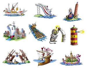 Various ships, boat and more
