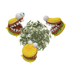 Hungry cheeseburgers eating  money