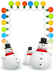 Frame of Holiday lights and  snowmans on white background