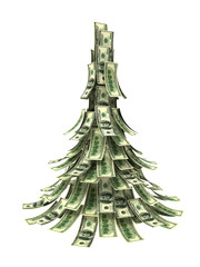 Dollars banknotes made as Christmas tree on white background