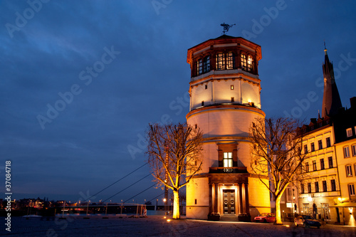 Schlossturm tower in  Old City (Altstadt) Dusseldorf at night