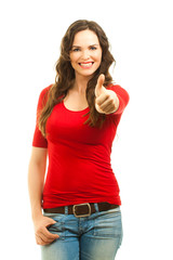 Beautiful woman giving thumbs up