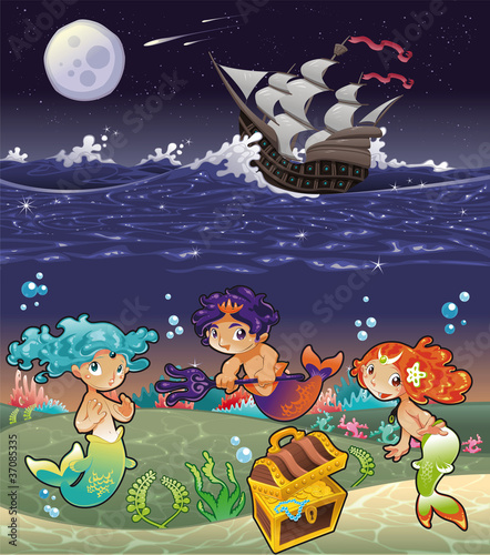 Poster Zeemeermin Baby Sirens under the sea.Vector illustration.