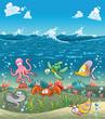 Marine animals under the sea. Vector illustration