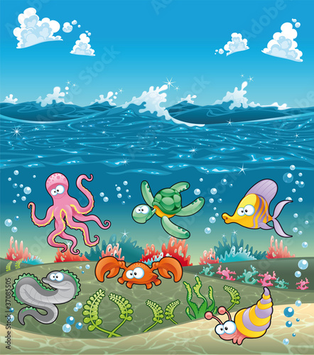 Marine animals under the sea. Vector illustration