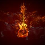 Fototapety Gitarre Feuer