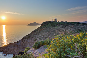 Poseidon temple, Sounio, just before sunset
