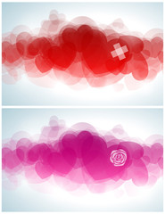 Abstract design with hearts. Vector illustration.