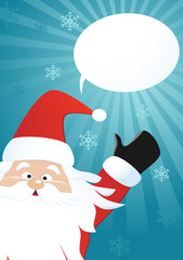 Santa Claus and speech bubble on a blue background, vector