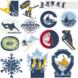Snowboard vector labels