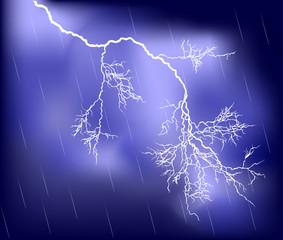 white lightning in lilac rain sky