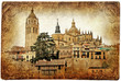 Segovia - medieval city of Spain - retro styled picture